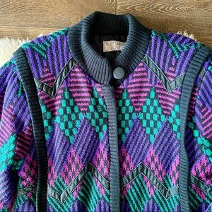 ❄️ Vintage 80's diamond pattern knit jacket